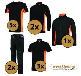Kledingpakket Tricorp Zwart met oranje (Luxe pakket)