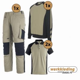 Kledingpakket Mascot Unique Khaki met Zwart (Basic pakket)