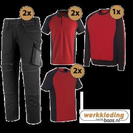 Kledingpakket Mascot Unique Rood met Zwart (uitgebreid pakket)
