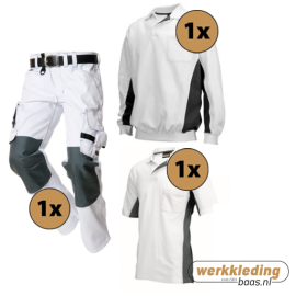 Kledingpakket Tricorp Wit met grijs (basic pakket)