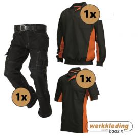Kledingpakket Tricorp Zwart met oranje (basic pakket)
