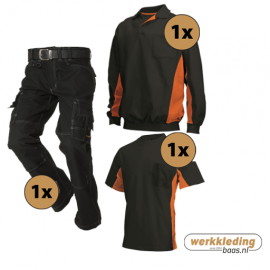 Kledingpakket Tricorp Zwart met oranje (instappakket)