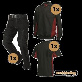 Kledingpakket Tricorp Zwart met rood (instappakket)