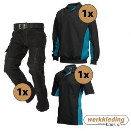 Kledingpakket Tricorp Zwart met turquoise (basic pakket)