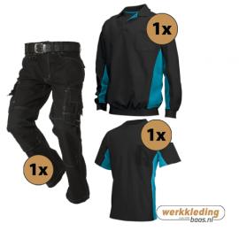 Kledingpakket Tricorp Zwart met turquoise (instappakket)