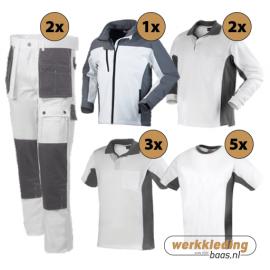 Kledingpakket Workman Afbouw II wit met grijs (Luxe pakket)