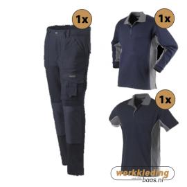 Kledingpakket Workman Worker navy met grijs (Basic pakket)